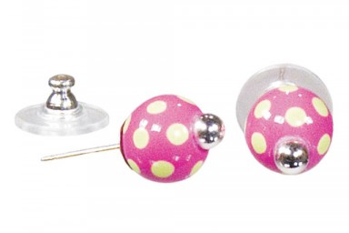 DRAMA DOTS PINK/GREEN POST EARRINGS - SILVER by Angela Moore - Hand Painted Earrings