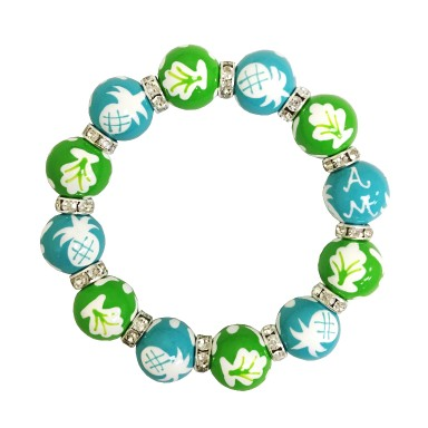 NEWPORT WELCOME LIME/TURQUOISE CLASSIC BEAD BRACELET W/CLEAR SWAROVSKI CRYSTALS