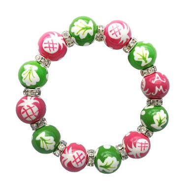 NEWPORT WELCOME PINK/GREEN CLASSIC BRACELET W/CLEAR SWAROVSKI CRYSTALS