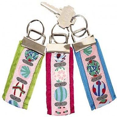 RIBBON KEY RING TURQ