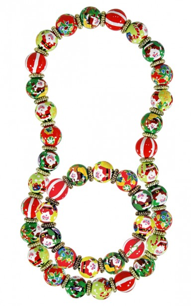 SANTA'S SURPRISE CLASSIC BRACELET & NECKLACE (GIFT SET) by Angela Moore - Hand Painted, Beaded Necklace