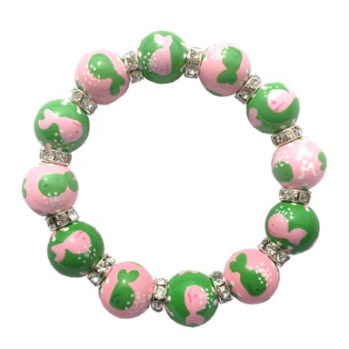 WHALES LT PINK/GREEN CLASSIC BRACELET W/CLEAR SWAROVSKI CRYSTALS