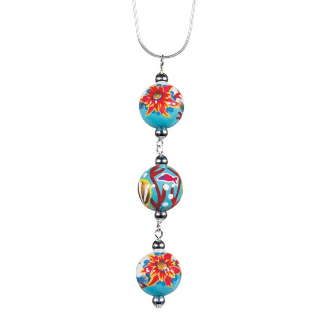 Reef triple bead pendant necklace by angela moore hand painted coral reef triple bead pendant necklace by angela moore hand painted beads 18 silver chain aloadofball Choice Image