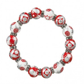 PINEAPPLE PATCH RED/SILVER RELAXED FIT BRACELET - CLEAR SWAROVSKI CRYSTALS