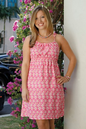 KRISTEN DRESS DAISY DAISY PINK/ORANGE