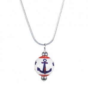 ANCHORS AWAY NAVY/RED CLASSIC BEAD PENDANT Angela Moore