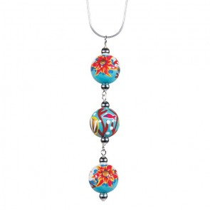 "CORAL REEF TRIPLE BEAD PENDANT NECKLACE by Angela Moore - Hand Painted Beads, 18"" Silver Chain"