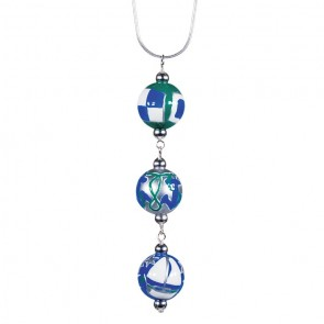 "SAIL AWAY TRIPLE BEAD PENDANT NECKLACE by Angela Moore - Hand Painted Beads, 18"" Silver Chain"