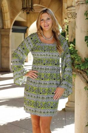 CARLY DRESS - TURKISH DELIGHT GREEN/BLACK