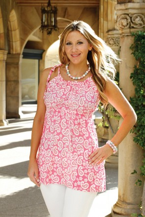 COURTNEY TOP - DEAUVILLE PINK/WHITE
