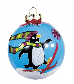 SKIING PENGUIN ORNAMENT by Angela Moore
