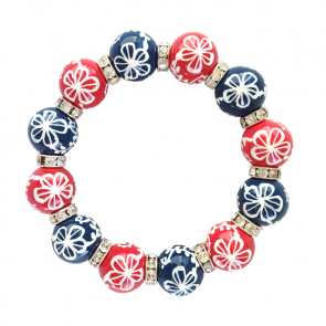 COUNTRY CLUB NAVY/RED CLASSIC BRACELET W/CLEAR SWAROVSKI CRYSTALS