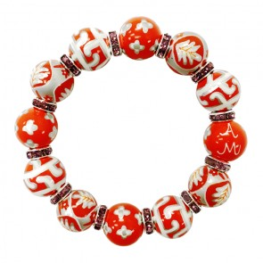 GO ORANGE CLASSIC BEAD BRACELET WITH VIOLET CRYSTALS
