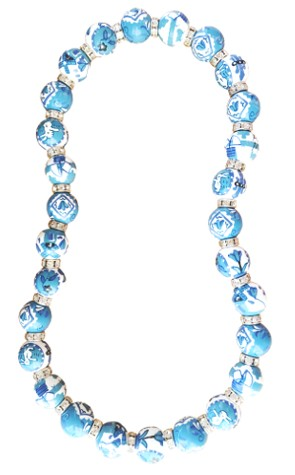 DUTCH TREAT BLUE CLASSIC NECKLACE W/CLEAR SWAROVSKI CRYSTALS