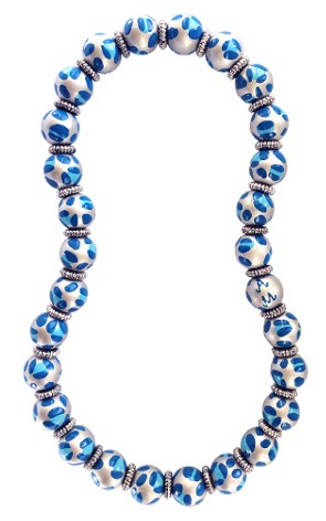 LEOPARD LIFE BLUE CLASSIC BEAD NECKLACE W/SILVER