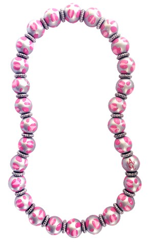 LEOPARD LIFE PINK CLASSIC NECKLACE W/SILVER