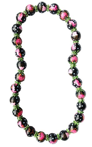 MARINE MAGIC BLACK/FUCHSIA CLASSIC NECKLACE W/PERIDOT SWAROVSKI CRYSTALS