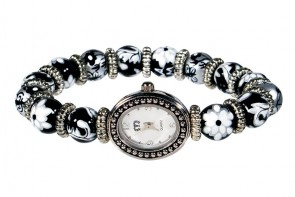 SPICE MARKET PETITE BEAD WATCH - SILVER by Angela Moore - Hand Painted Beaded Watch