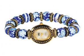 DEAUVILLE PETITE BEAD WATCH - GOLD by Angela Moore - Hand Painted Beaded Watch