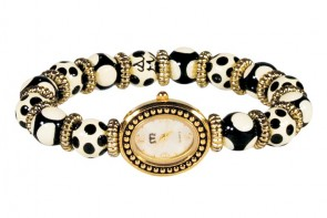 GLAMOUR PUSS PETITE BEAD WATCH - GOLD by Angela Moore - Hand Painted Beaded Watch