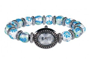 LUXE LIFE PETITE BEAD WATCH - SILVER by Angela Moore - Hand Painted Beaded Watch