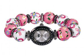 PINK RIBBON CLASSIC BEAD WATCH - SILVER by Angela Moore - Hand Painted Beaded Watch