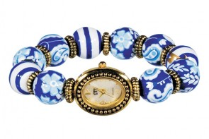 DEAUVILLE CLASSIC BEAD WATCH - GOLD by Angela Moore - Hand Painted Beaded Watch