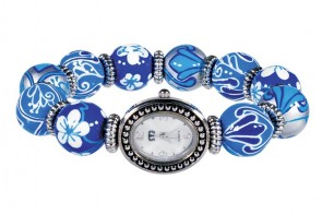 BLUE HEAVEN CLASSIC BEAD WATCH - SILVER by Angela Moore - Hand Painted Beaded Watch