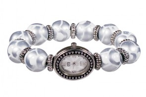 FEATHER FLURRY CLASSIC BEAD WATCH - SILVER by Angela Moore - Hand Painted Beaded Watch