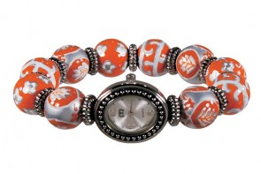 DESERT BLOOM SPICE CLASSIC BEAD WATCH - SILVER by Angela Moore - Hand Painted Beaded Watch
