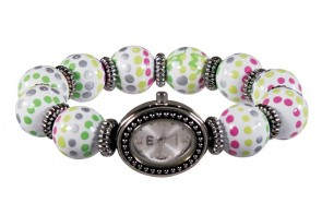 HOTSY DOTSY CLASSIC BEAD WATCH - SILVER by Angela Moore - Hand Painted Beaded Watch
