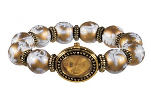 SUN SHADOW CLASSIC BEAD WATCH - GOLD by Angela Moore - Hand Painted Beaded Watch