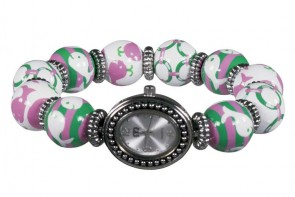 WHALE WATCH PINK/GREEN CLASSIC BEAD WATCH - SILVER
