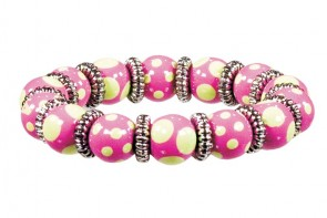 DRAMA DOTS PINK/GREEN LITTLE GIRL'S BRACELET - SILVER by Angela Moore