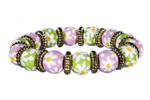 DAISY DAISY PINK/GREEN LITTLE GIRL'S BRACELET - GOLD by Angela Moore