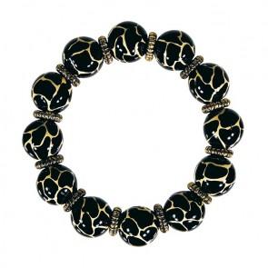 GIRAFFE COCOA CLASSIC BRACELET - GOLD by Angela Moore - Hand Painted, Beaded Bracelet