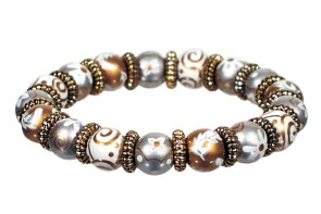 RAJ REVIVAL SHIMMER PETITE BRACELET - GOLD by Angela Moore - Hand Painted, Beaded Bracelet