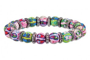 FANCY FLIPS PETITE BRACELET - SILVER by Angela Moore - Hand Painted, Beaded Bracelet