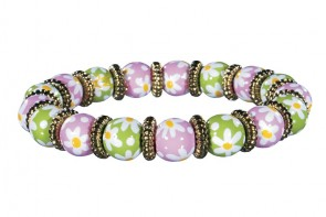 DAISY DAISY PINK/GREEN PETITE BRACELET - GOLD by Angela Moore - Hand Painted, Beaded Bracelet