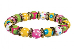 DOTTY DELIGHT PETITE BRACELET - GOLD by Angela Moore - Hand Painted, Beaded Bracelet