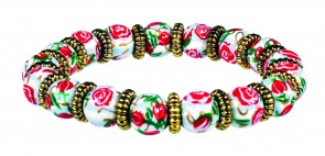 RAMBLIN ROSES PETITE BEAD BRACELET WITH GOLD