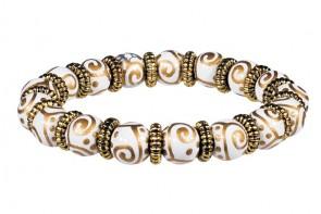 SOLAR SWIRL PETITE BRACELET - GOLD by Angela Moore - Hand Painted, Beaded Bracelet