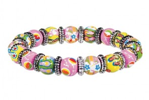 FUN FLIPS PETITE BRACELET - SILVER by Angela Moore - Hand Painted, Beaded Bracelet