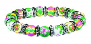 FANCY FROGS PETITE BEAD BRACELET WITH SILVER