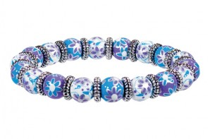 PURPLE PASSION PETITE BRACELET - SILVER by Angela Moore - Hand Painted, Beaded Bracelet