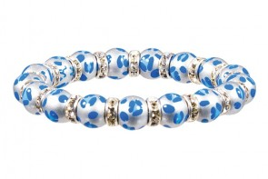 LEOPARD LIFE BLUE PETITE BRACELET - CLEAR SWAROVSKI CRYSTALS by Angela Moore - Hand Painted, Beaded Bracelet