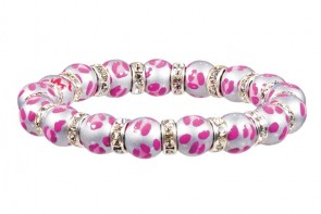 LEOPARD LIFE PINK PETITE BRACELET - CLEAR SWAROVSKI CRYSTALS by Angela Moore - Hand Painted, Beaded Bracelet