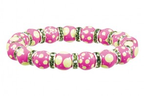 DRAMA DOTS PINK/GREEN PETITE BRACELET- PERIDOT SWAROVSKI CRYSTALS by Angela Moore - Hand Painted, Beaded Bracelet