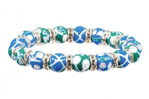 GORGEOUS GOLF PETITE BRACELET - CLEAR SWAROVSKI CRYSTALS by Angela Moore - Hand Painted, Beaded Bracelet