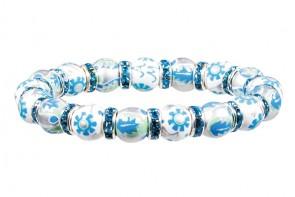 LUXE LIFE PETITE BRACELET - AQUA SWAROVSKI CRYSTALS by Angela Moore - Hand Painted, Beaded Bracelet